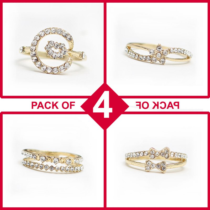Pack of 4 Rings - Gold & Diamond Style (RH-08) Price in Pakistan