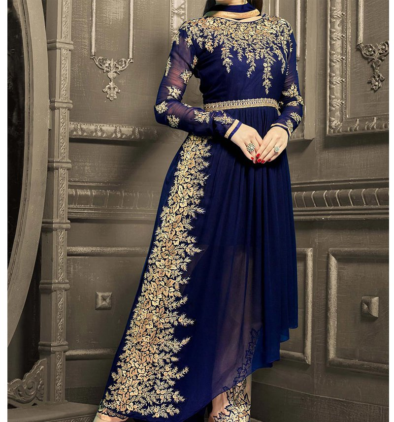 Pakistani Chiffon Suit Embroidered in Royal Blue (CHI-33) Price in Pakistan
