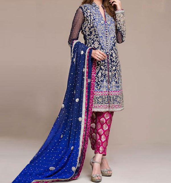 Embroidered Chiffon Bridal Dress Unstitched (CHI-28)