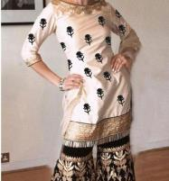 Linen Embroidered 2-Pcs Dress with Embroidered Trouser Unstitched (LN-107) Price in Pakistan
