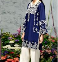 2-Pcs Embroidered Navy Blue Lawn Suit 2020  (DRL-488) (Unstitched) Price in Pakistan