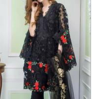 2PCS Black Net Embroidery Suit (Shirt+Trouser) Unstitched (CHI-344) Price in Pakistan