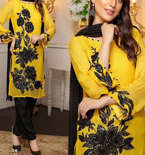2Pcs Linen Heavy Embroidered Suit 2019 (LN-82) (Unstitched) Price in Pakistan