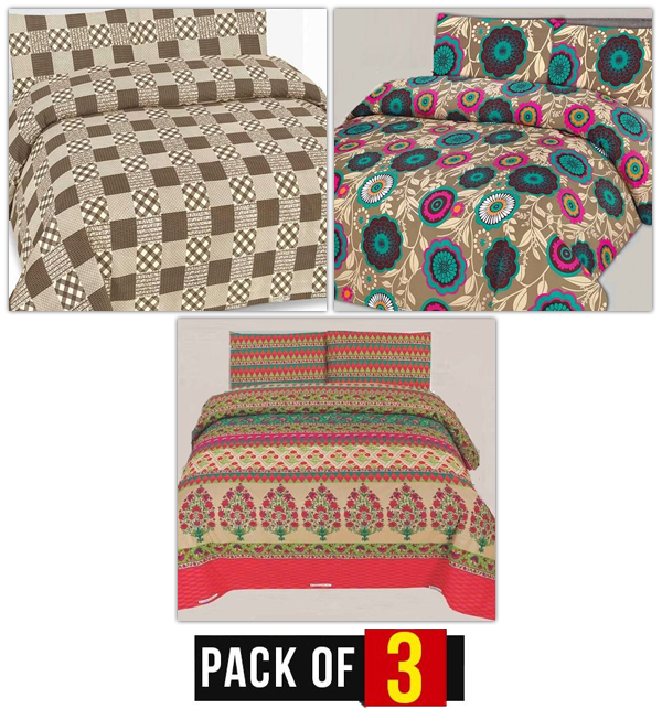 3 King Size Bed Sheets Combo Pack Offer (PC-05), (PC-08) & (PC-79) Price in Pakistan