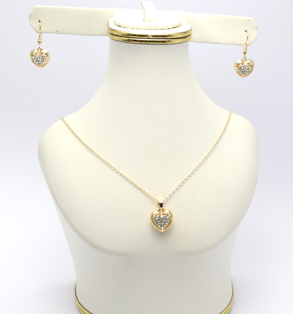 Artificial Golden Heart Shaped Necklace with Earrings (PS-125) Price in Pakistan