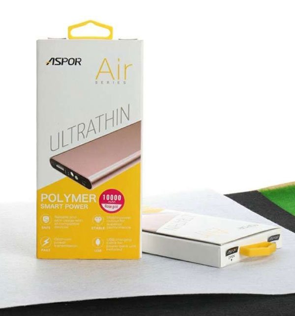 Aspor Power Bank 10000Mah Polymer Air Ultra Thin A383  Price in Pakistan