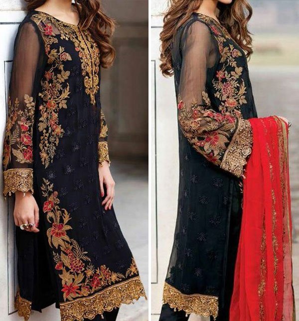 Black Chiffon Embroidered Suit (CHI-29) Price in Pakistan