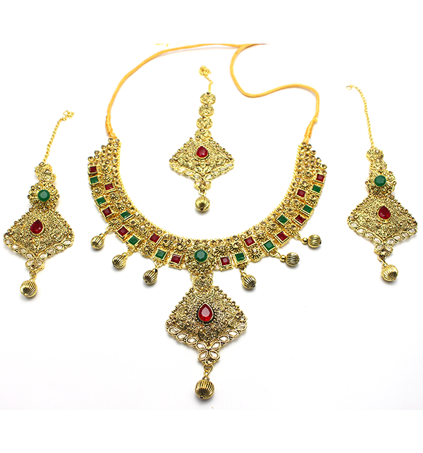 Bridal Heavy Beautiful & Stylish Golden Jewelry Set (PS-104) Price in Pakistan