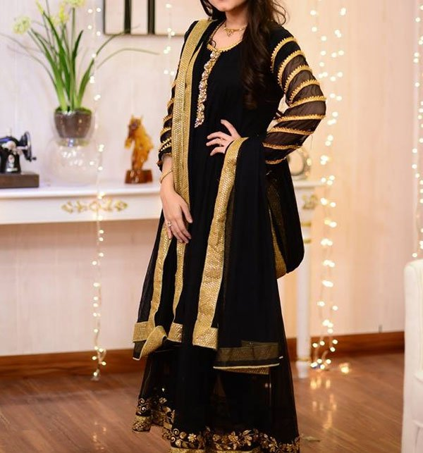 Black Chiffon Embroidery Maxi Unstitched (CHI-205) Price in Pakistan