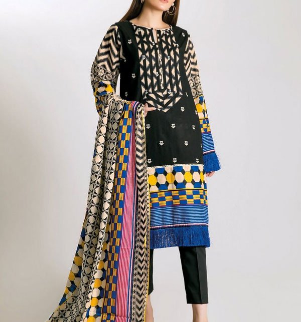 Khaddar Embroidery Black Suit With Wool Shawl Dupatta (Unstitched) (KD-38) Price in Pakistan