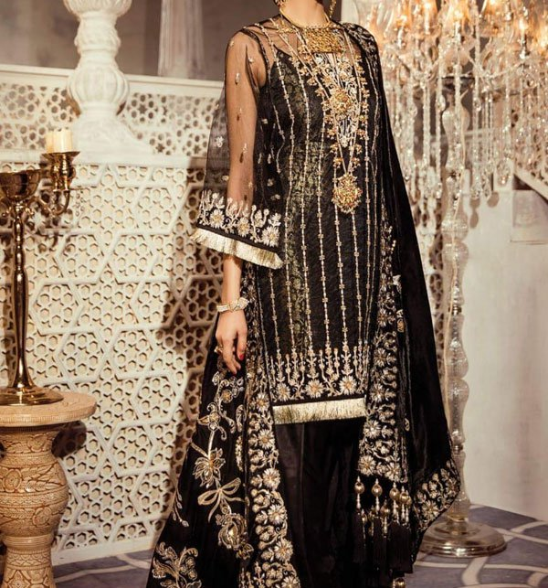 Black Net Suit Design 2019 With Net Embroidery Duppata (CHI-283) (Unstitched) Price in Pakistan