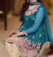 Chiffon Embroidered Dress with Jamawar Trouser (CHI-257) (Unstitched) Price in Pakistan