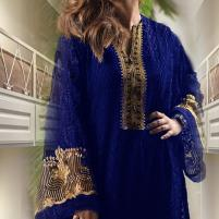 Chiffon Embroidery Unstitched Kurti -  (EK-136) Price in Pakistan