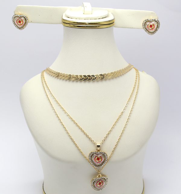 Delicate Heart Shaped Necklace with Earrings (PS-122) Price in Pakistan