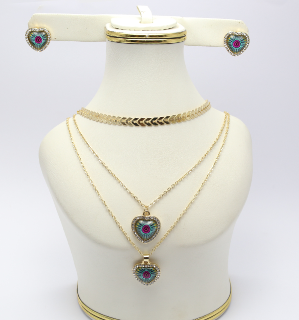 Delicate Heart Shaped Necklace with Earrings (PS-129) Price in Pakistan