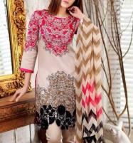 Designer 3PC Lawn Suit With Chiffon Dupatta + Trouser Patch (DRL-285) (Unstitched) Price in Pakistan