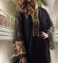 Designer Black Front Full Chiffon Embroidery Kurti (UN-Stitched) (EK-134) Price in Pakistan