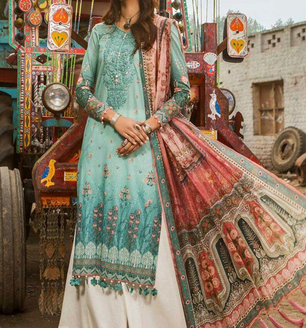 Designer Embroidered Lawn Suit With Chiffon Dupatta (DRL-337) (Unstitched) Price in Pakistan