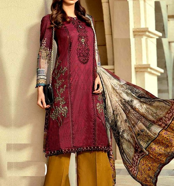 Embroidered Lawn Suit Chiffon Dupatta Unstitched (DRL-331) Price in Pakistan