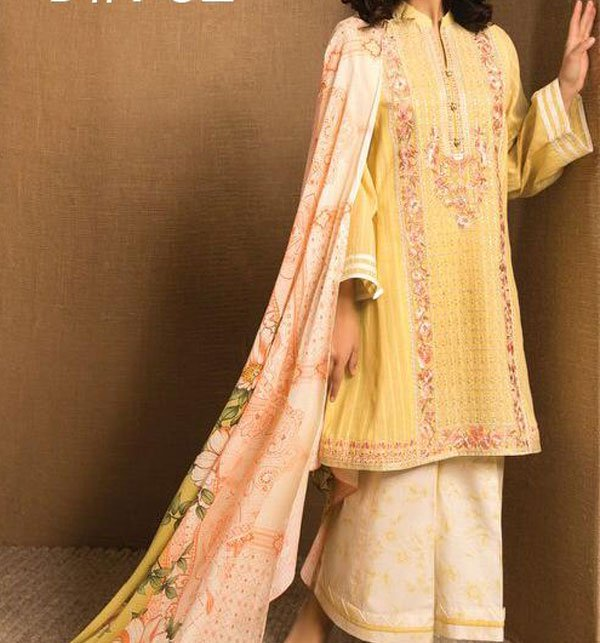 Designer Embroidered Lawn Unstitched 3 Piece Suit (DRL-335) Price in Pakistan