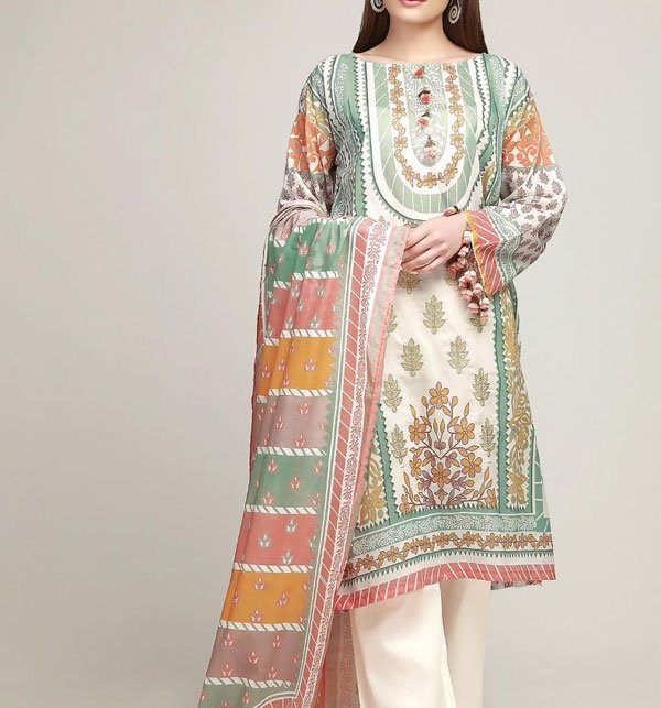 Lawn Embroidery Dress Chiffon Dupatta  (DRL-279) (UnStitched) Price in Pakistan