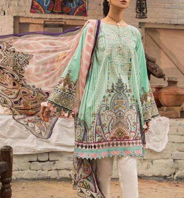 Designer Lawn Embroidered Dress With Chiffon Dupatta (DRL-345) (Unstitched) Price in Pakistan
