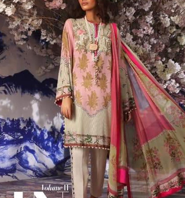 Designer Lawn Embroidered Dress With Chiffon Dupatta (DRL-346) (Unstitched) Price in Pakistan