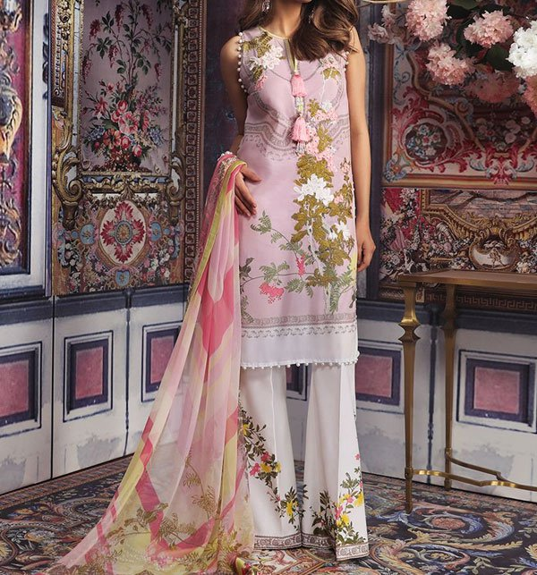 Lawn Embroidered Dress Chiffon Dupatta Printed Trouser (DRL-352) (Unstitched) Price in Pakistan