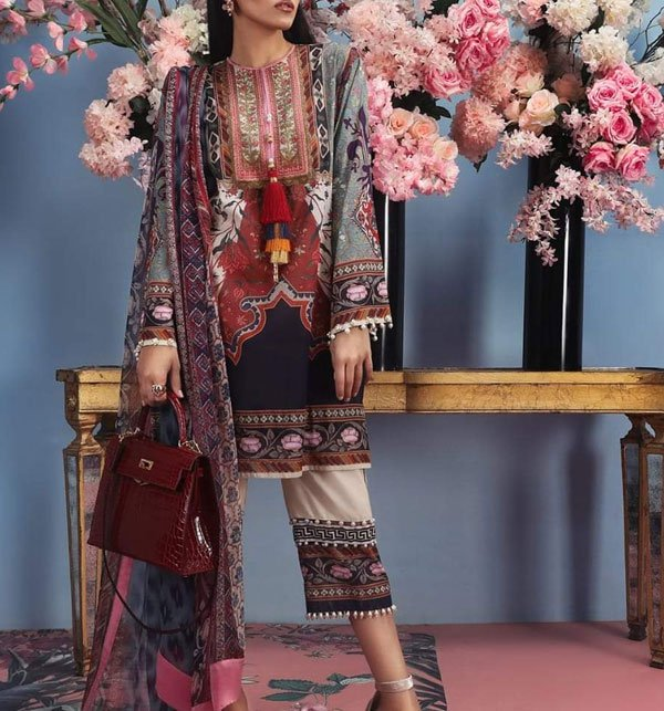 Designer Lawn Embroidered Suit 2019 With Chiffon Dupatta (DRL-348) (Unstitched) Price in Pakistan