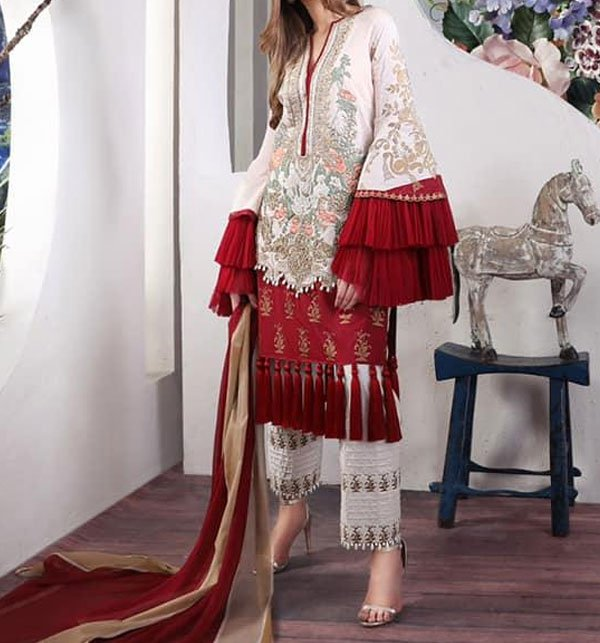 Designer Lawn Embroidered Suit 2019 With Chiffon Dupatta (DRL-356) (Unstitched) Price in Pakistan