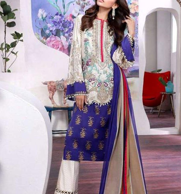 Designer Lawn Embroidered Suit 2019 With Chiffon Dupatta (DRL-357) (Unstitched) Price in Pakistan