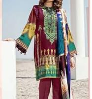 Designer Lawn Embroidered Suit With Lawn Dupatta (DRL-251) (Unstitched) Price in Pakistan