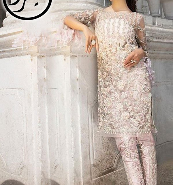 Designer Net Dresses With Embroidered Net Dupatta (CHI-287) (Unstitched) Price in Pakistan