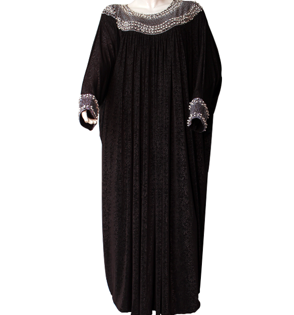 Jersey Self Print Abaya Stones Work With Scarf (AB-36) Price in Pakistan