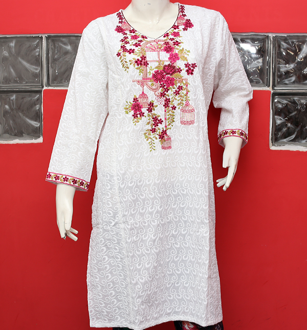 Eid Chikan Neck Embroidery Kurtis White 2019 (stitched) (EK-128) Price in Pakistan