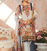 Eid Collection Neck Embroidered Lawn Dress 2020 with Chiffon Dupatta UnStitched (DRL-578) Price in Pakistan