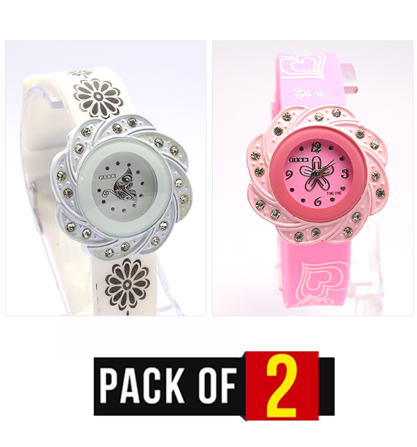 Eid Pack OF 2 Women Watches (Pink & White) (CW-91) & (CW-92) Price in Pakistan