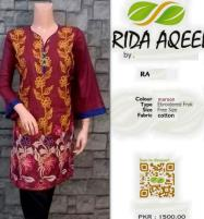 Kurti Stitched Full Front Embroidery Maroon Color (RA-1022) Price in Pakistan