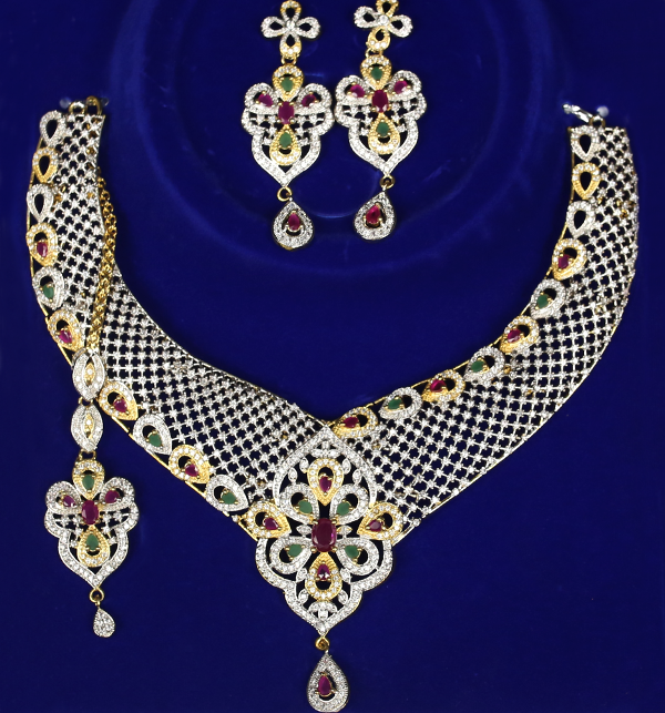 Elegant AD Stone Necklace with Earrings (PS-133) Price in Pakistan