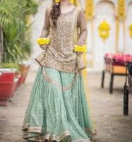 Best Mehndi Embroidered Net Dress with Chiffon Dupatta (UnStitched) (CHI-348) Price in Pakistan