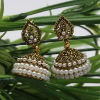 Elegant Pearls Golden Earrings - (JLW-01) Price in Pakistan