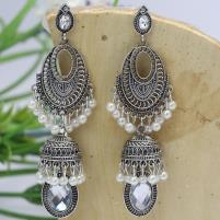 Elegant Pearls Antique Silver Earrings - (JLW-02) Price in Pakistan