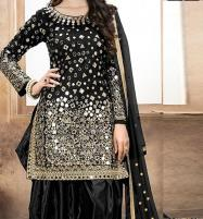 Embroidered Black Chiffon Party Dress (Unstitched) (CHI-163) Price in Pakistan