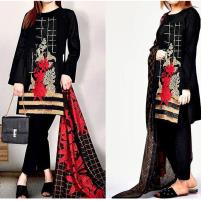 Embroidered Black Lawn Dress UnStitched (DRL-423) Price in Pakistan