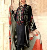 Embroidered Black Lawn Dress with Chiffon Dupatta  UnStitched (DRL-627) Price in Pakistan
