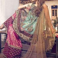 Embroidered Chiffon Bridal Dress with Jamawar Trouser (Unstitched) (CHI-330) Price in Pakistan