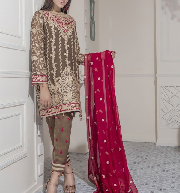 Eid Collection Heavy Embroidered Chiffon Suit With Chiffon Dupatta 2019 (CHI-273) (Unstitched) Price in Pakistan