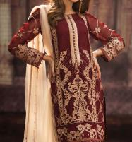 Embroidered Chiffon Suit With Net Dupatta (CHI-241) (Unstitched) Price in Pakistan