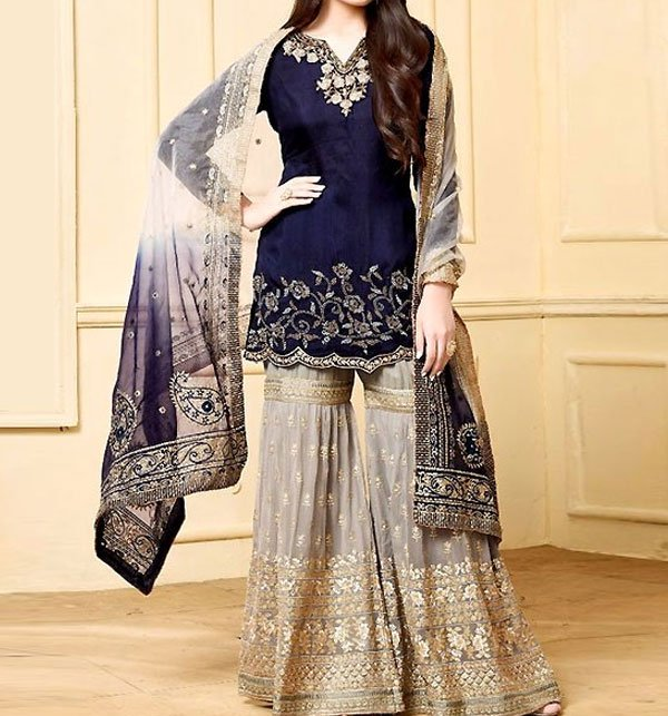 Embroidered Chiffon Suit with Heavy Embroidered Gharara (CHI-276) (Unstitched) Price in Pakistan