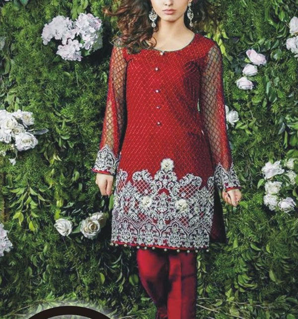 Embroidered Chiffon Unstitched Kurtis (EK-95) Price in Pakistan